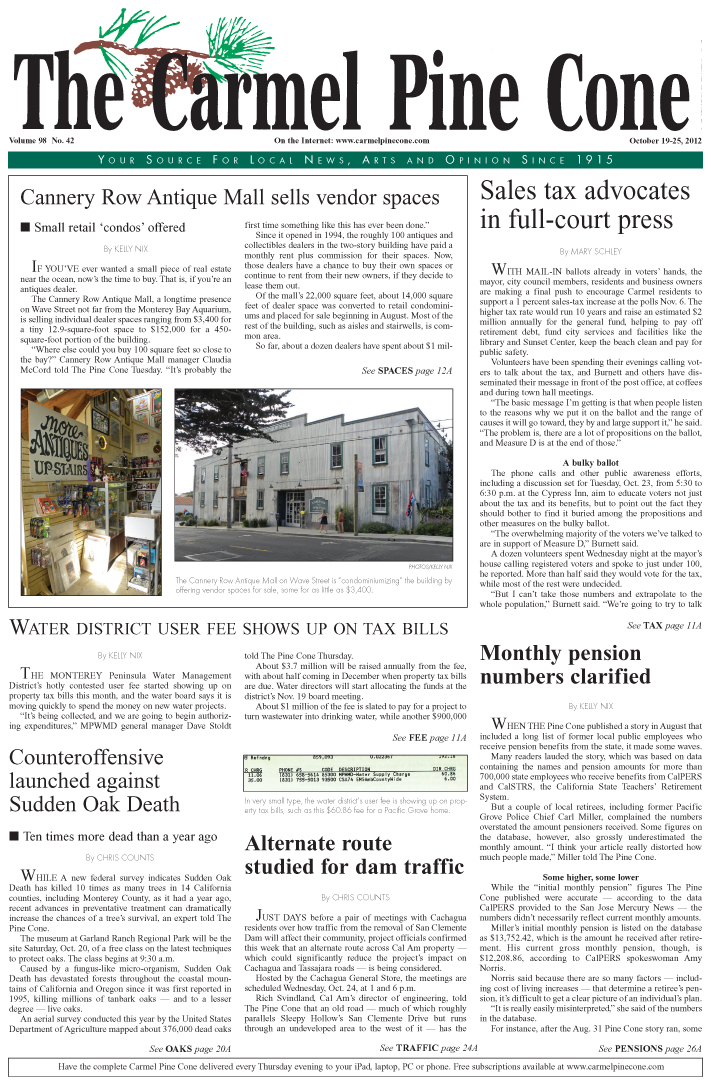 The October 19, 2012,                 front page of The Carmel Pine Cone