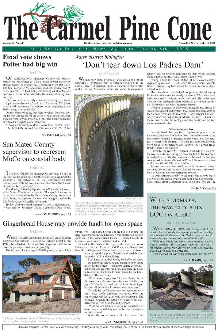 The November 30, 2012, front page of The Carmel                 Pine Cone