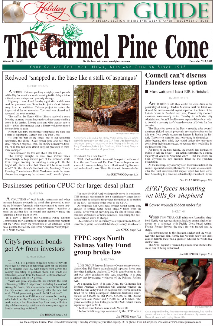 The December 7, 2012, front page of The Carmel Pine                 Cone