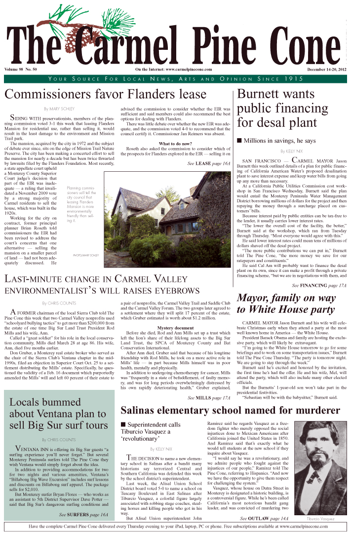 The December 14, 2012, front page of The Carmel                 Pine Cone