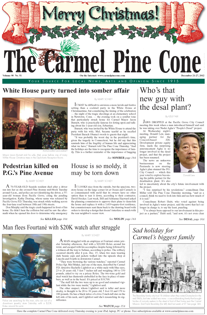 The December 21, 2012, front page of The Carmel                 Pine Cone