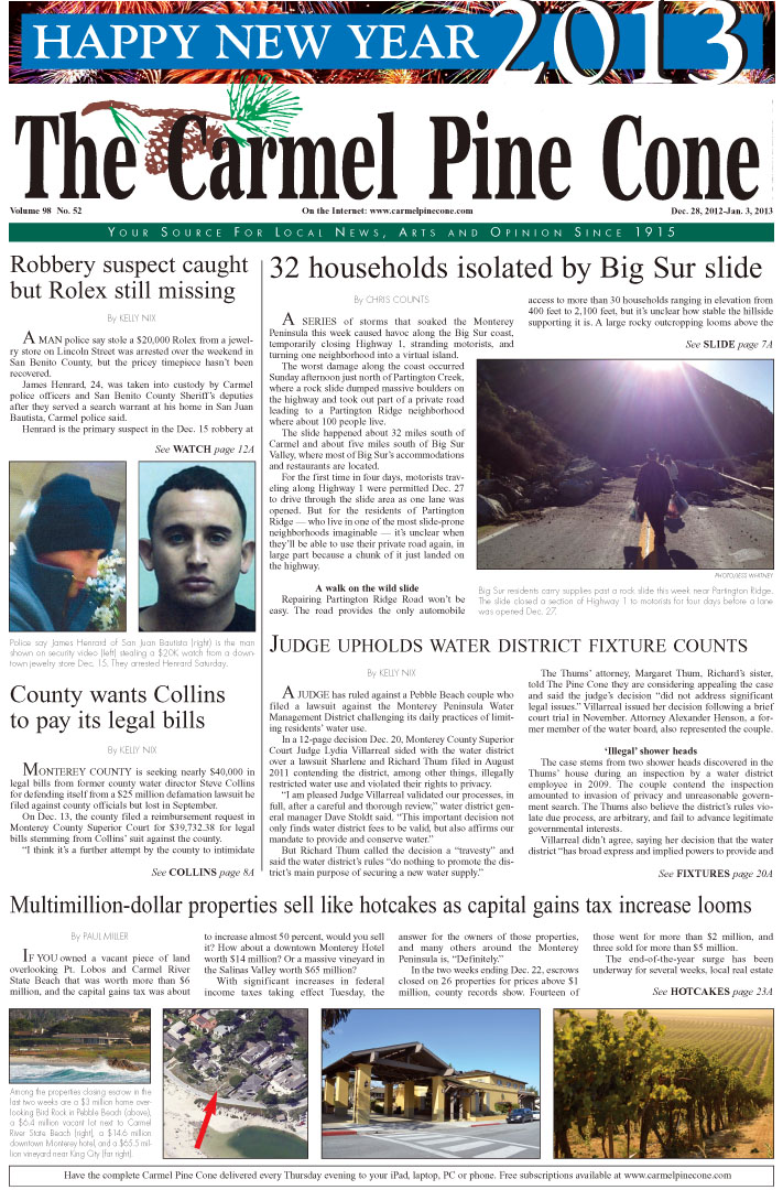 The December 28, 2012, front page of The Carmel                 Pine Cone