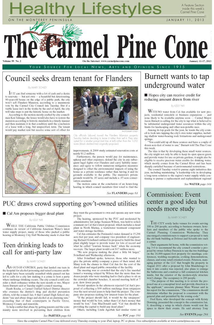 The January 11, 2013, front page of The Carmel Pine                 Cone