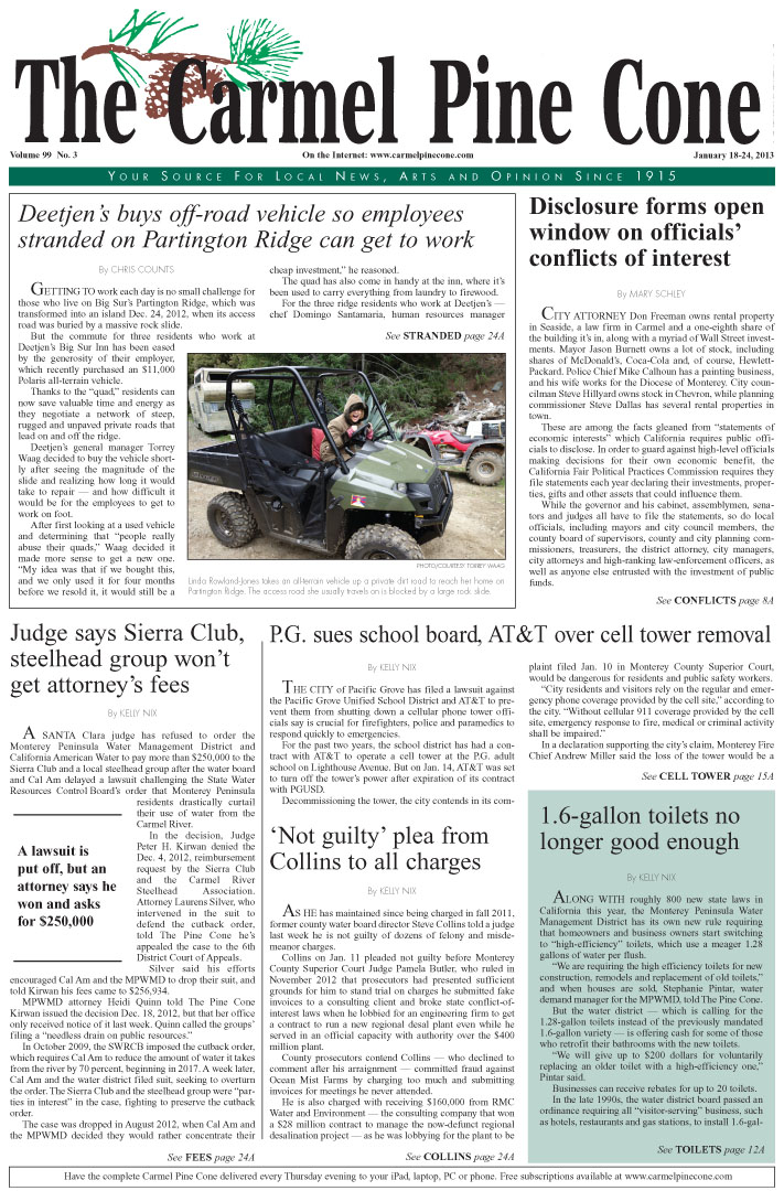 The January 18, 2013, front page of The Carmel Pine                 Cone