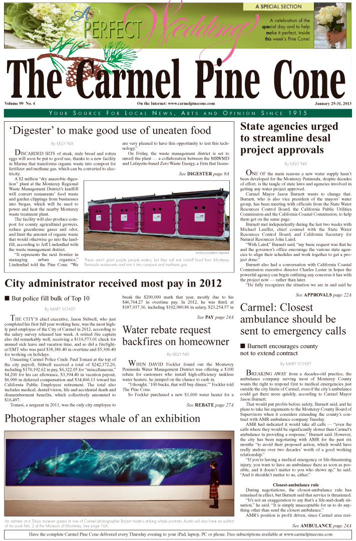 The January 25, 2013, front page of The Carmel Pine                 Cone