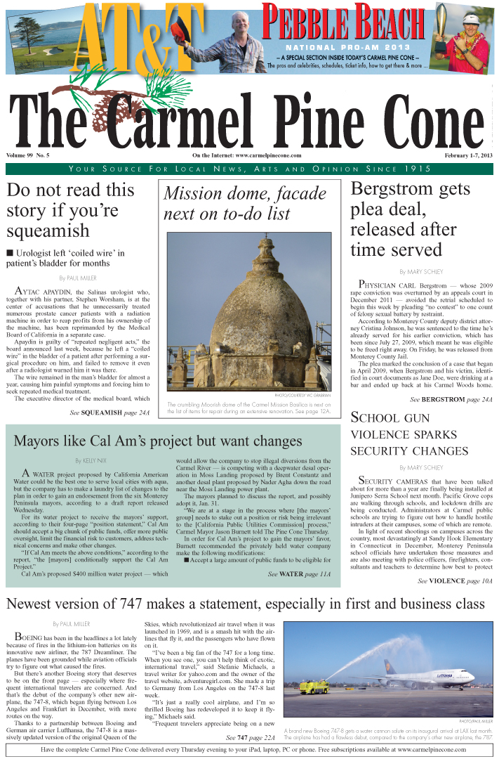 The February 1, 2013, front page of The Carmel Pine