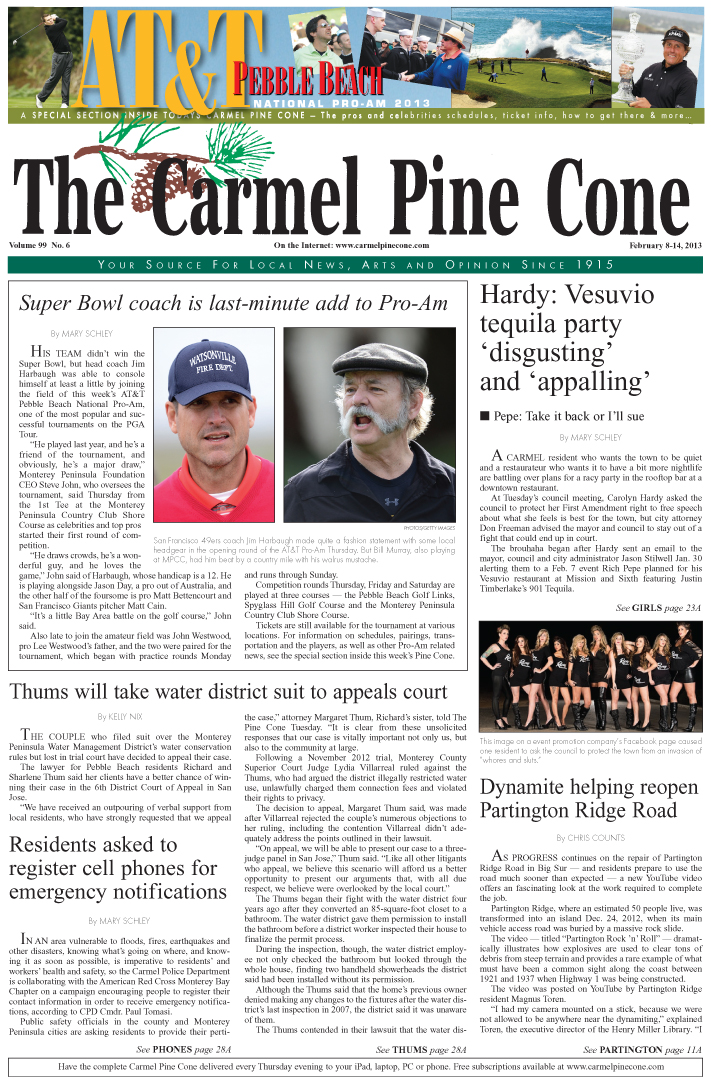 The February 8, 2013, front page of The Carmel Pine                 Cone