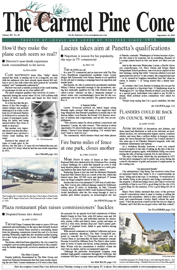 The                 September 16, 2016, front page of The Carmel Pine Cone
