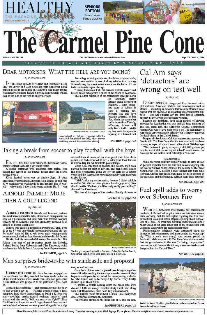 The                 September 30, 2016, front page of The Carmel Pine Cone