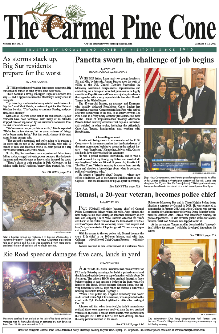 The                 January 6, 2017, front page of The Carmel Pine Cone