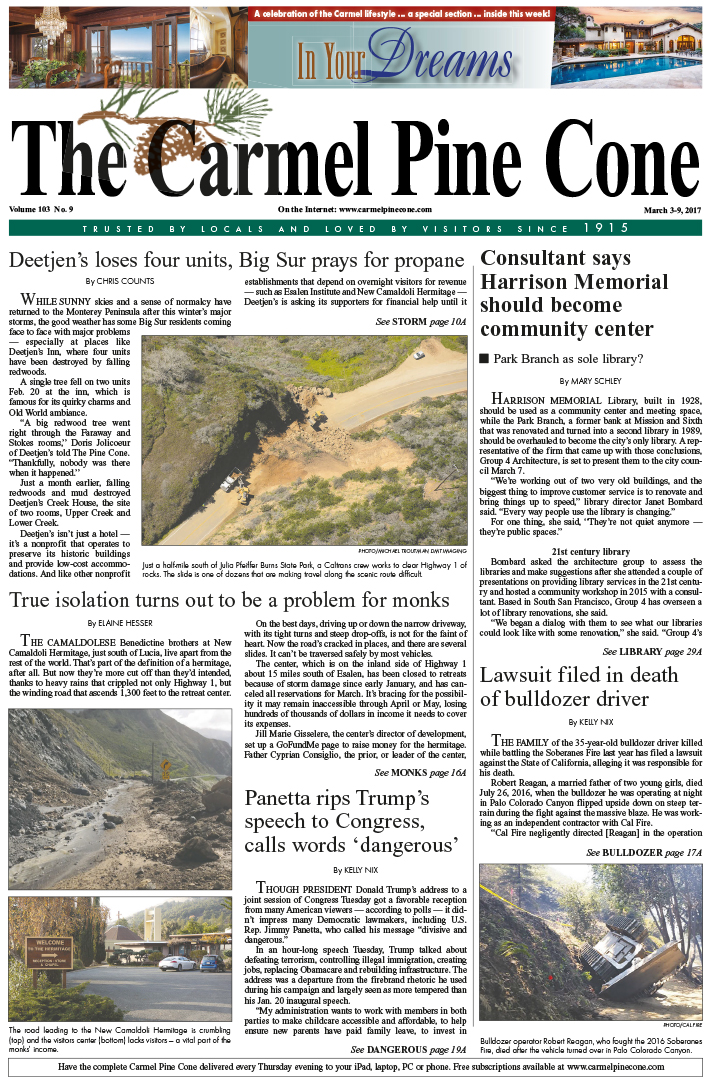 The March                 3, 2017, front page of The Carmel Pine Cone