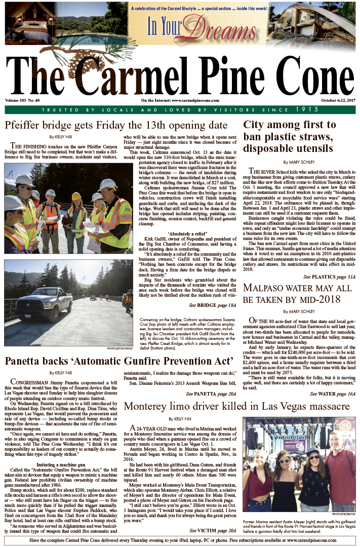 The                 October 6, 2017, front page of The Carmel Pine Cone