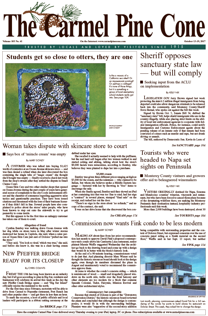 The                 October 13, 2017, front page of The Carmel Pine Cone