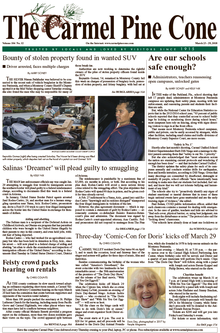 The March                 23, 2018, front page of The Carmel Pine Cone