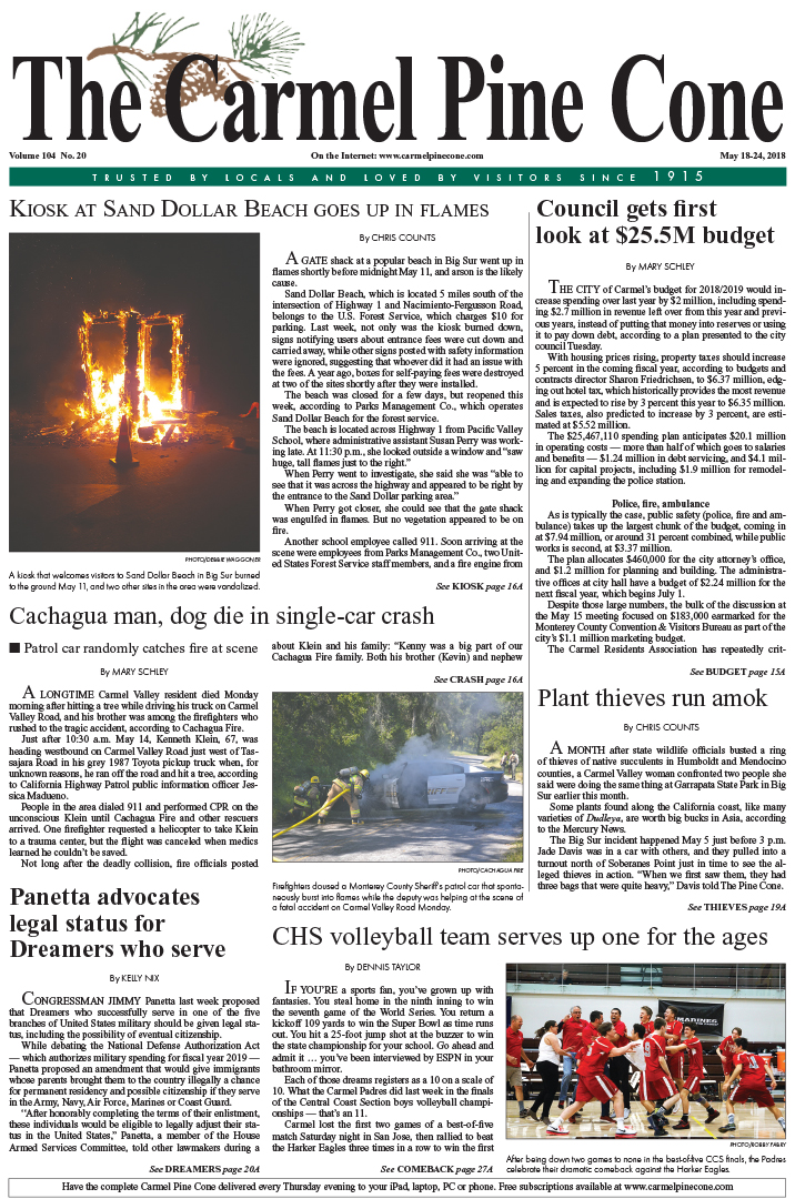 The May                 18, 2018, front page of The Carmel Pine Cone