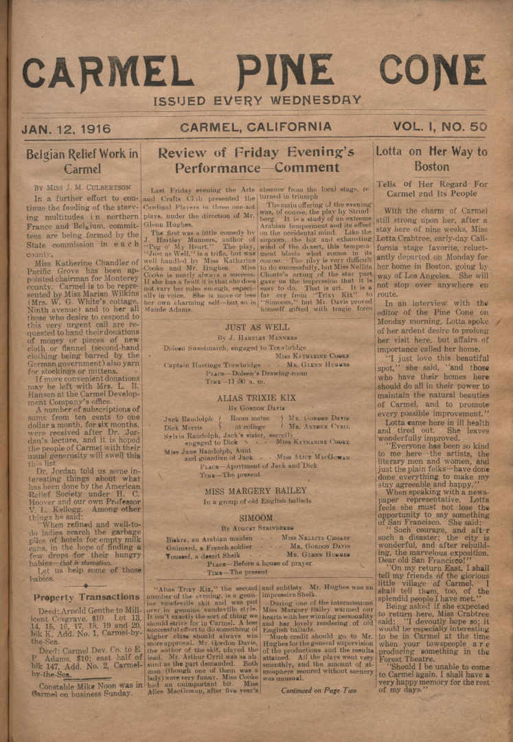 front page of the                 January 12, 1916, Carmel Pine Cone
