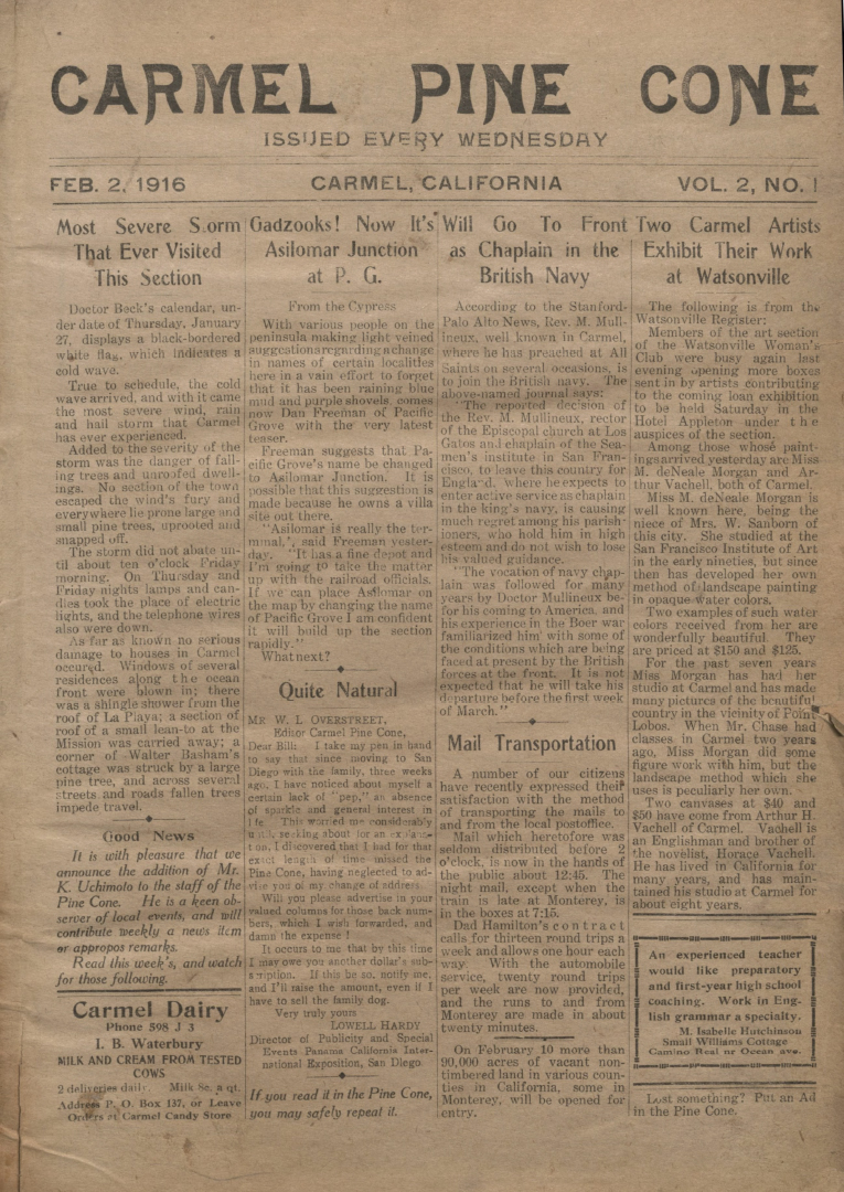 front page of the                 February 2, 1916, Carmel Pine Cone