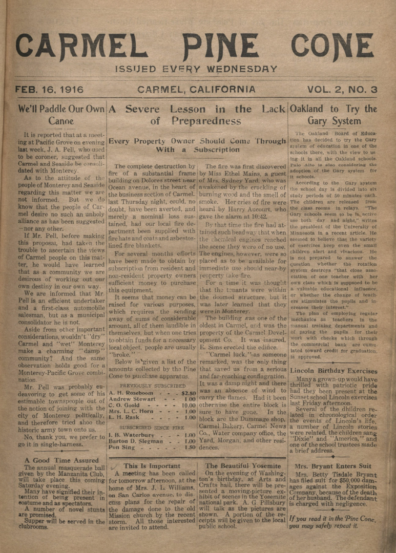 front page of the                 February 16, 1916, Carmel Pine Cone
