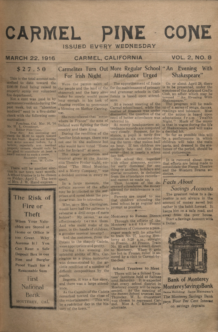 front page of the                 March 22, 1916, Carmel Pine Cone