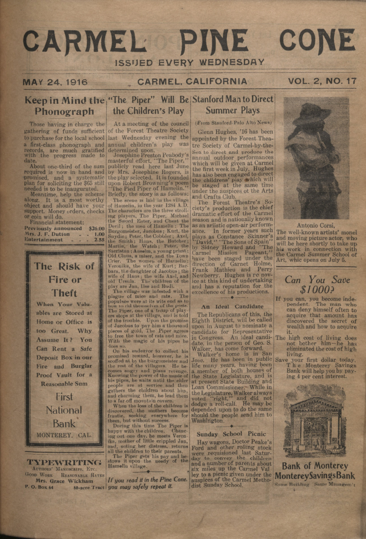front page of the May                 24, 1916, Carmel Pine Cone