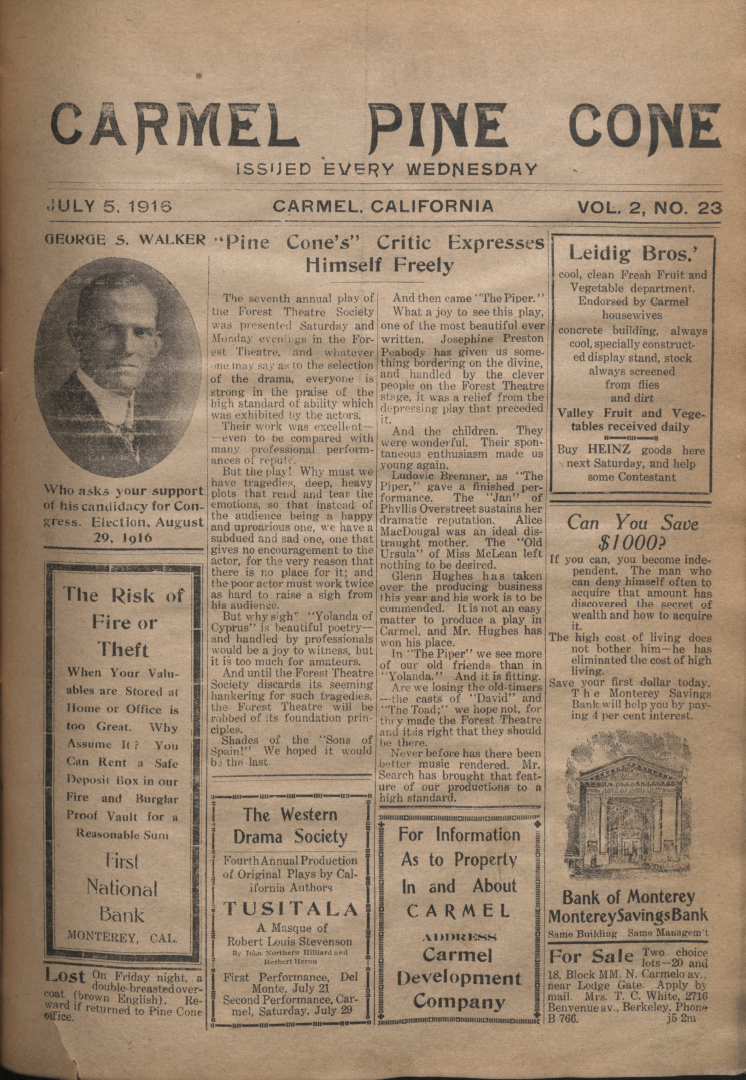 front page of the                 July 5, 1916, Carmel Pine Cone