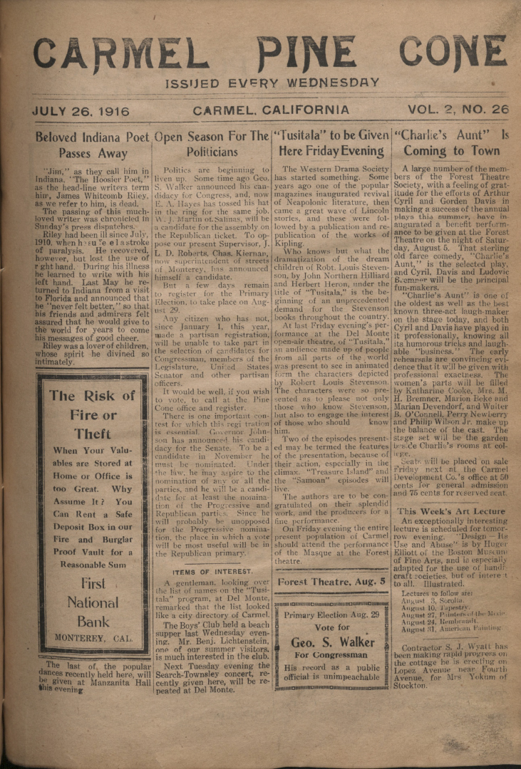 front page of the                 July 26, 1916, Carmel Pine Cone