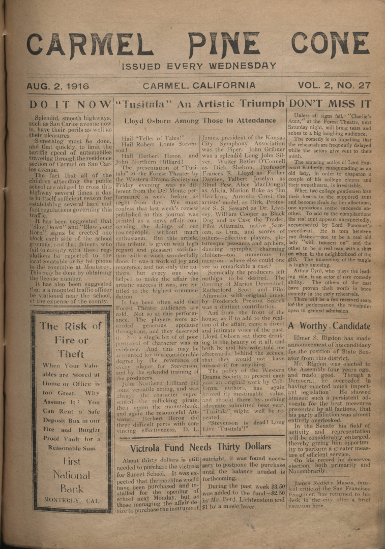 front page of the                 August 2, 1916, Carmel Pine Cone