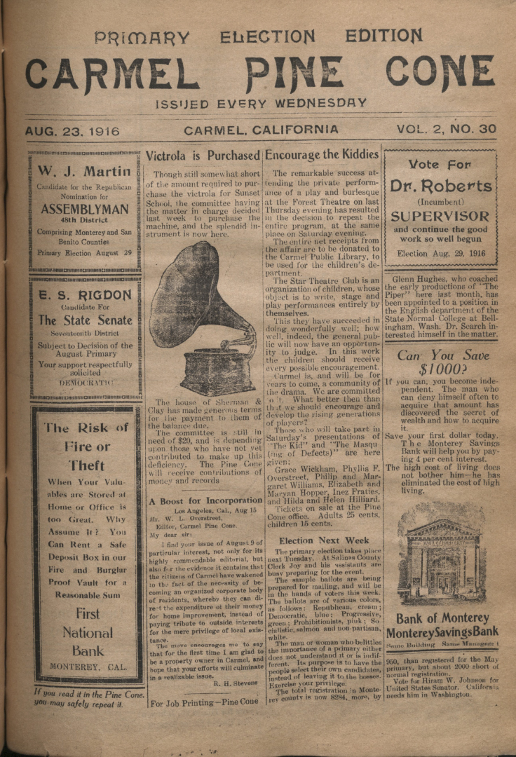 front page of the                 August 23, 1916, Carmel Pine Cone