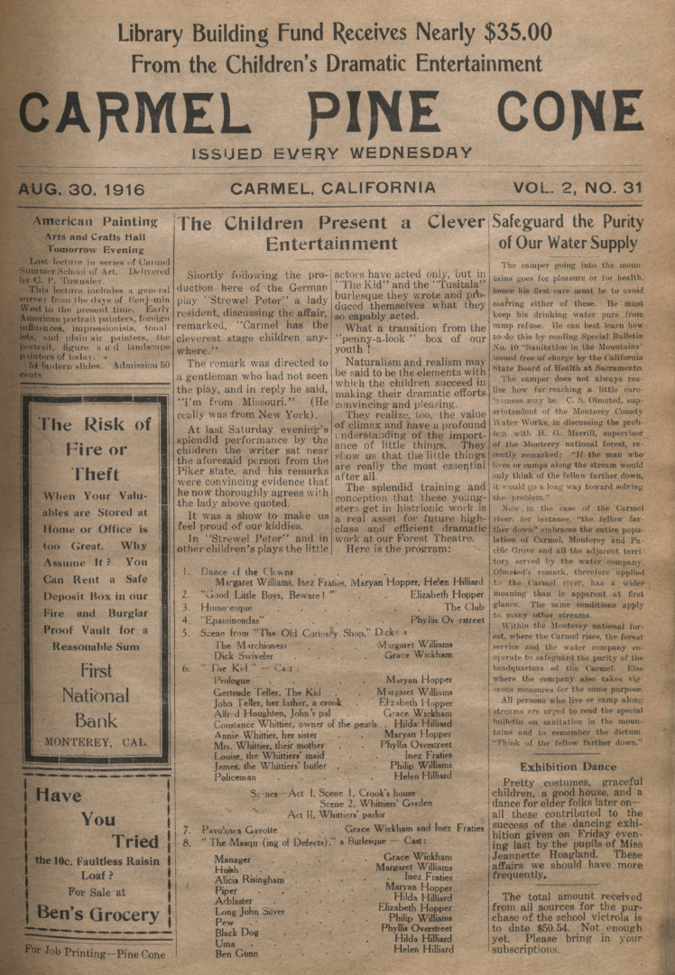 front page of the                 August 30, 1916, Carmel Pine Cone