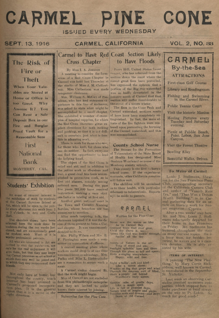 Front page of the                 September 13, 1916, Carmel Pine Cone
