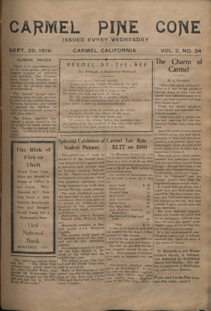 Front page of the                 September 20, 1916, Carmel Pine Cone
