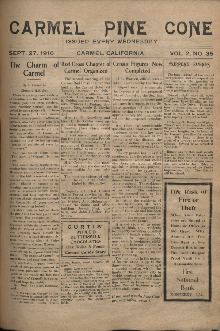Front page of the                 September 27, 1916, Carmel Pine Cone