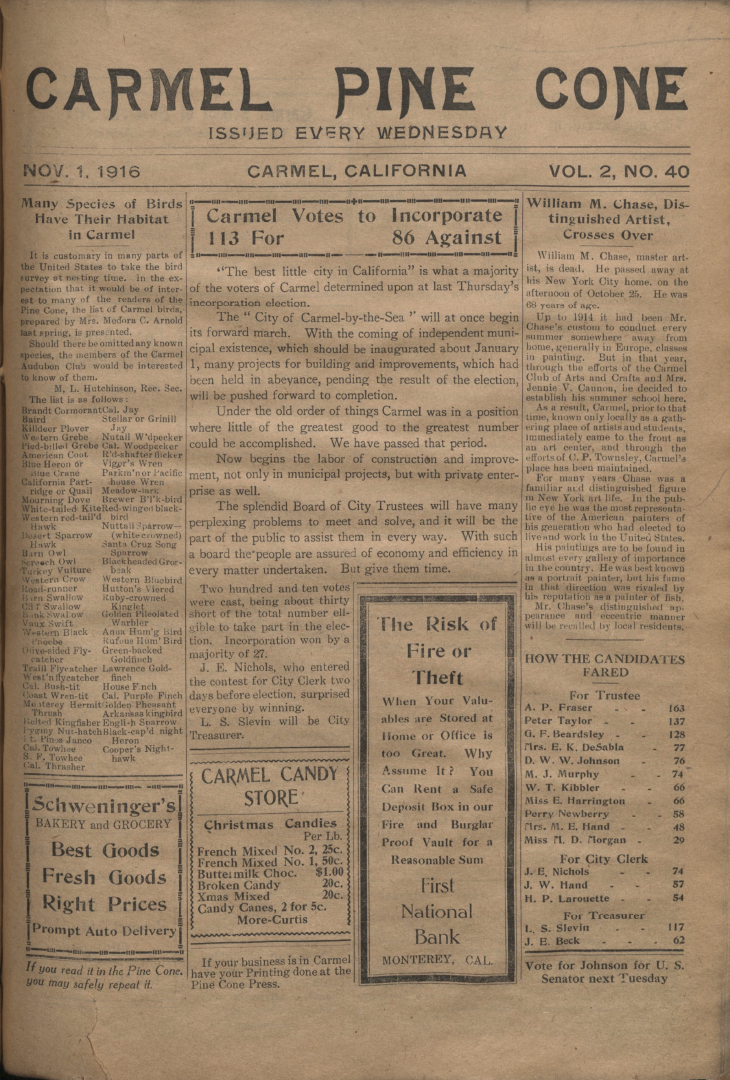 front page of the                 November 1, 1916, Carmel Pine Cone