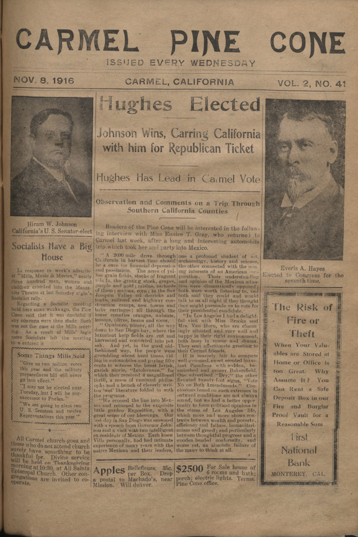front page of the                 November 8, 1916, Carmel Pine Cone