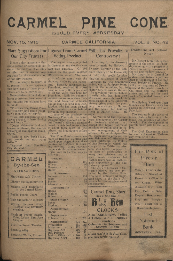 front page of the                 November 15, 1916, Carmel Pine Cone