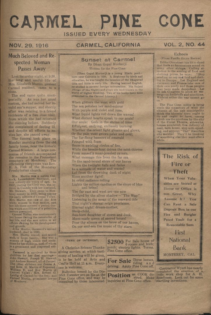 front page of the                 November 29, 1916, Carmel Pine Cone