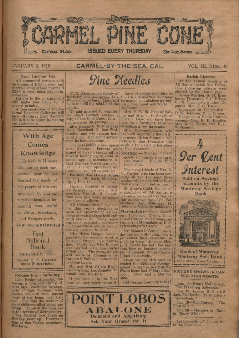 front page of the                 January 3, 1918, Carmel Pine Cone