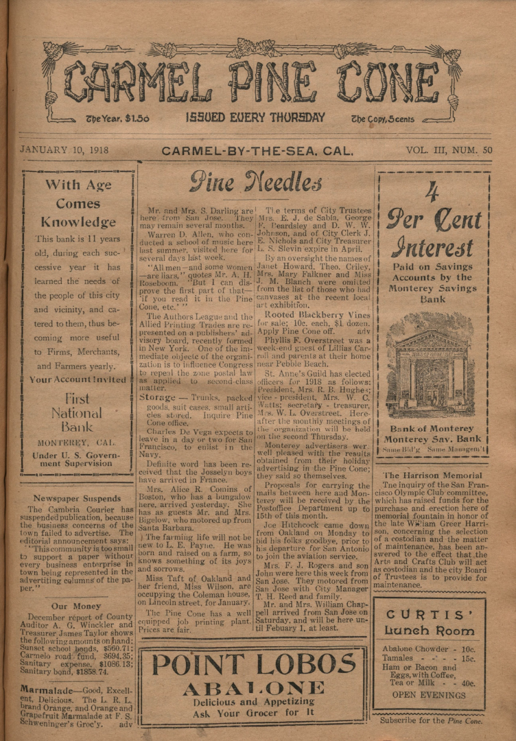 front page of the                 January 10, 1918, Carmel Pine Cone