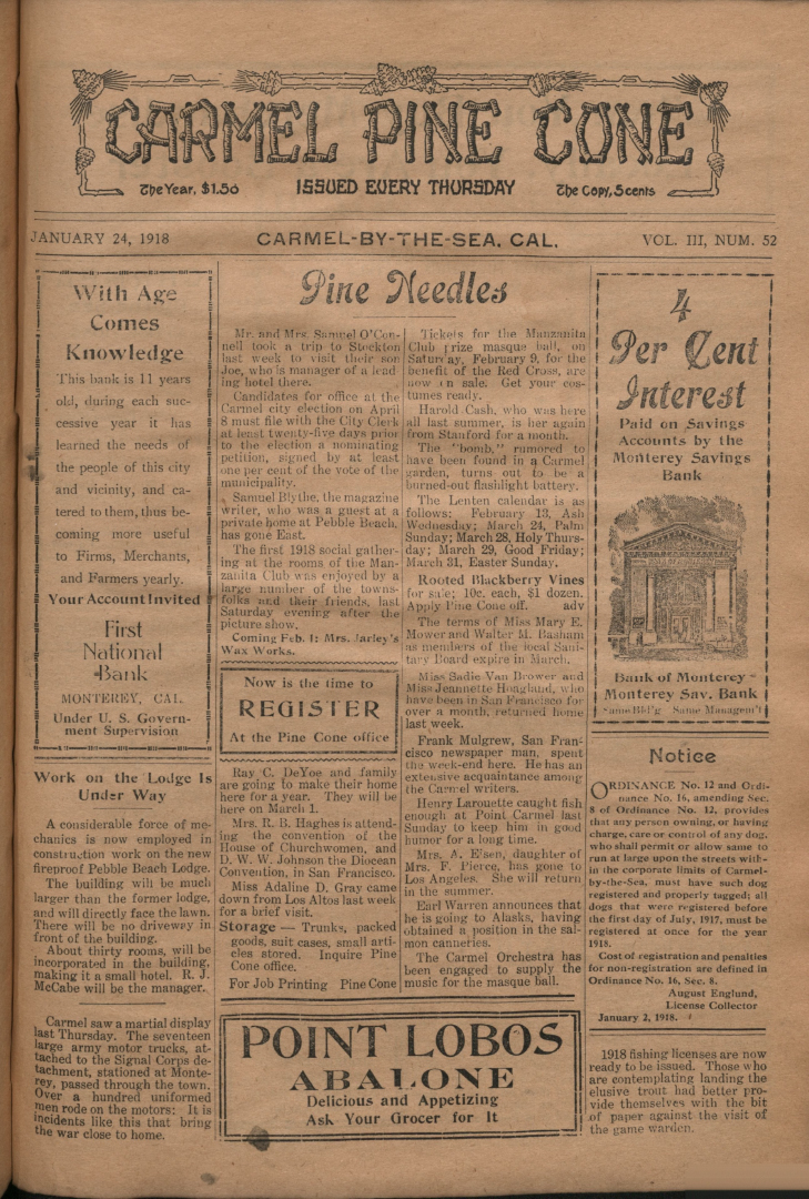 front page of the                 January 24, 1918, Carmel Pine Cone