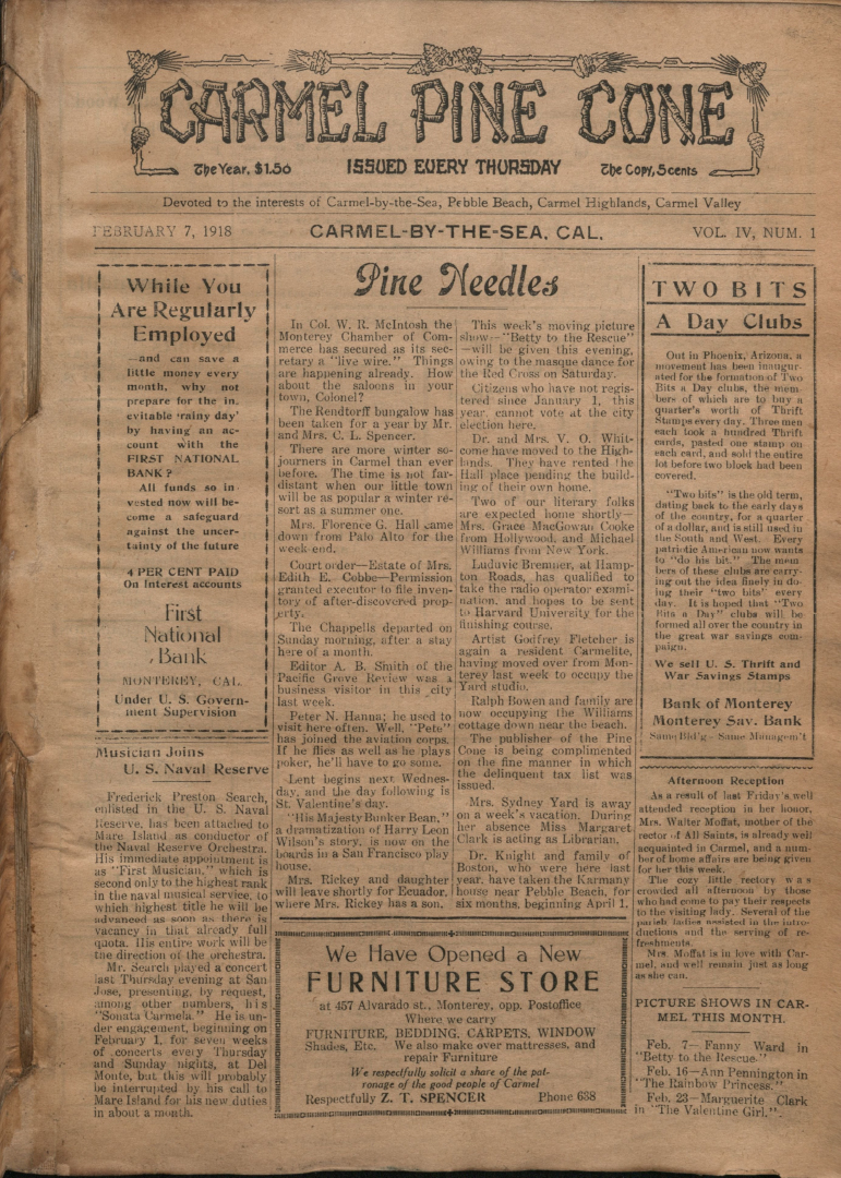 front page of the                 February 7, 1918, Carmel Pine Cone