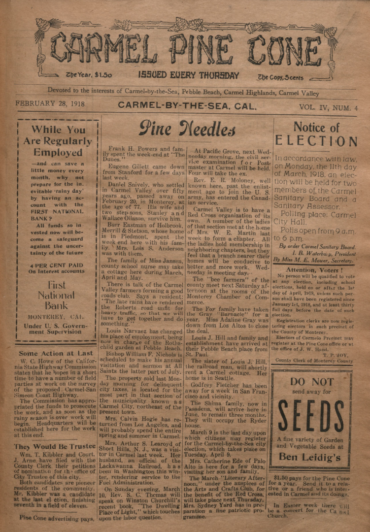 front page of the                 February 28, 1918, Carmel Pine Cone