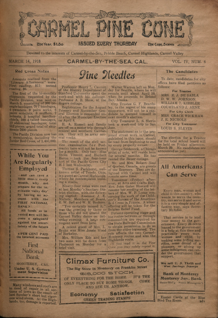 front page of the                 March 14, 1918, Carmel Pine Cone