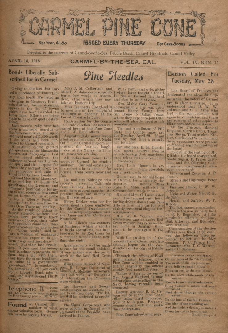 front page of the                 April 18, 1918, Carmel Pine Cone
