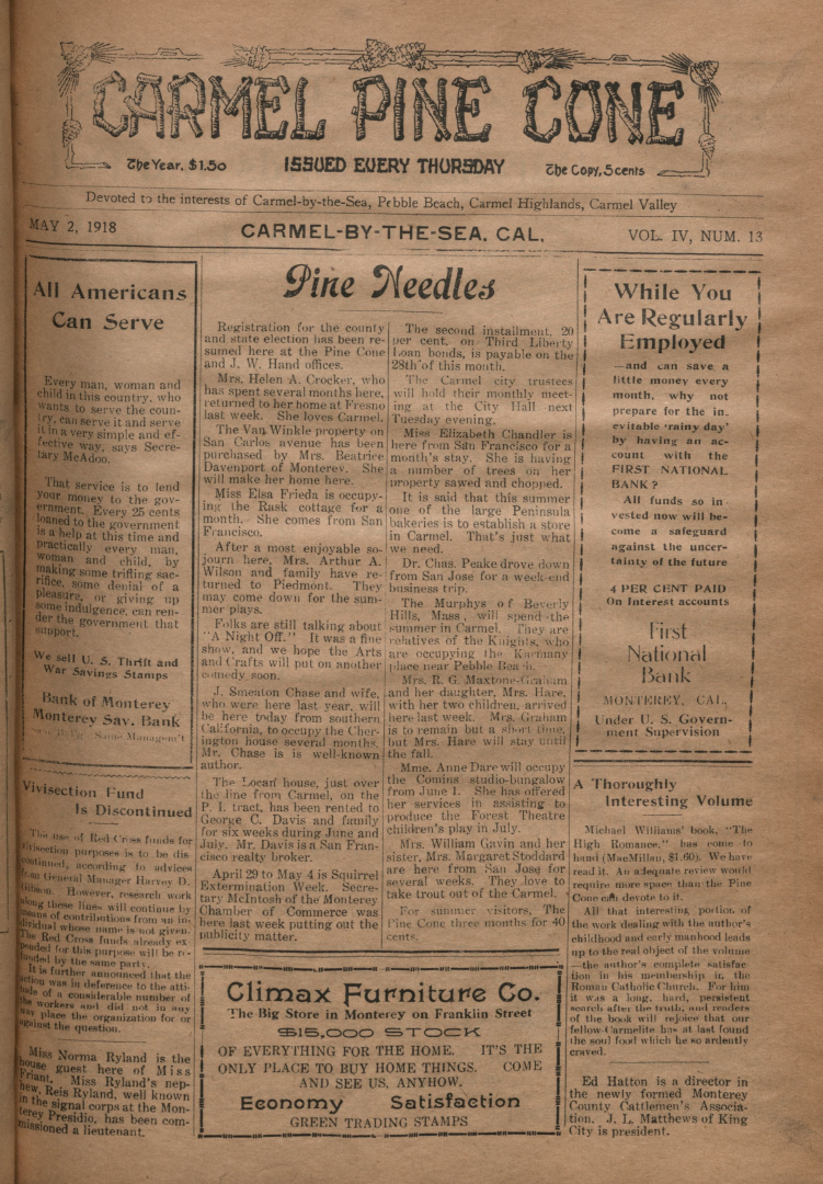 front page of the May                 02, 1918, Carmel Pine Cone