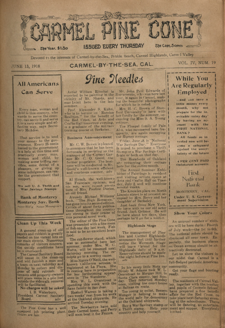 Front page of the                 June 13, 1918, Carmel Pine Cone
