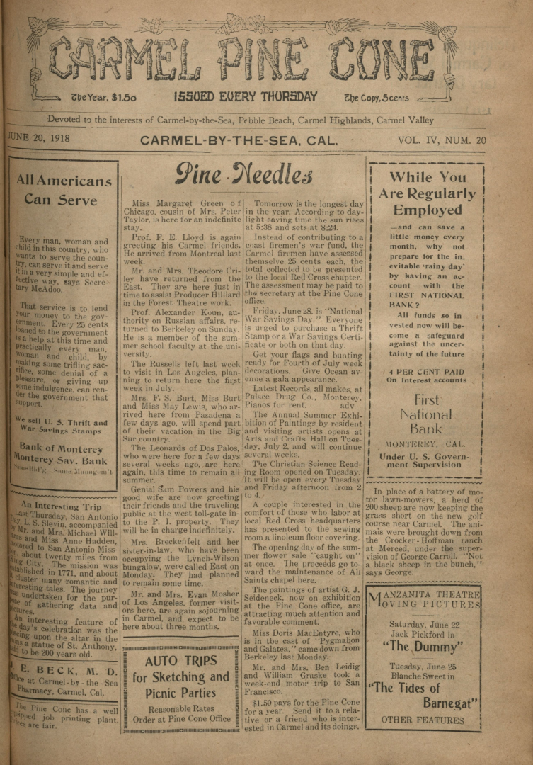 Front page of the                 June 20, 1918, Carmel Pine Cone