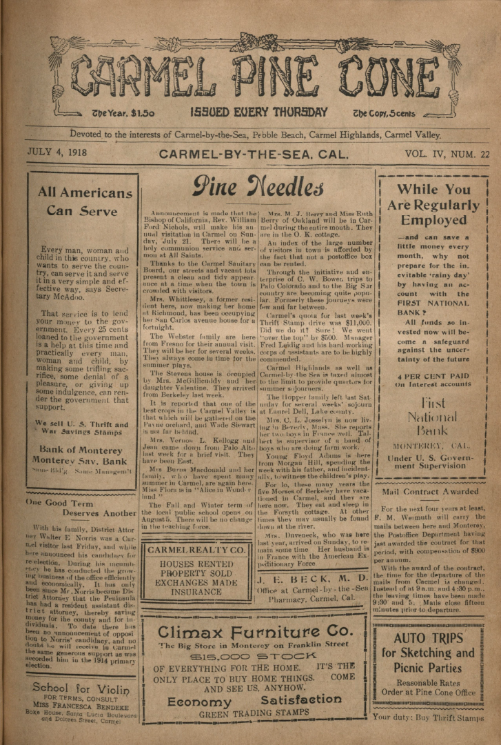 front page of the                 July 4, 1918, Carmel Pine Cone