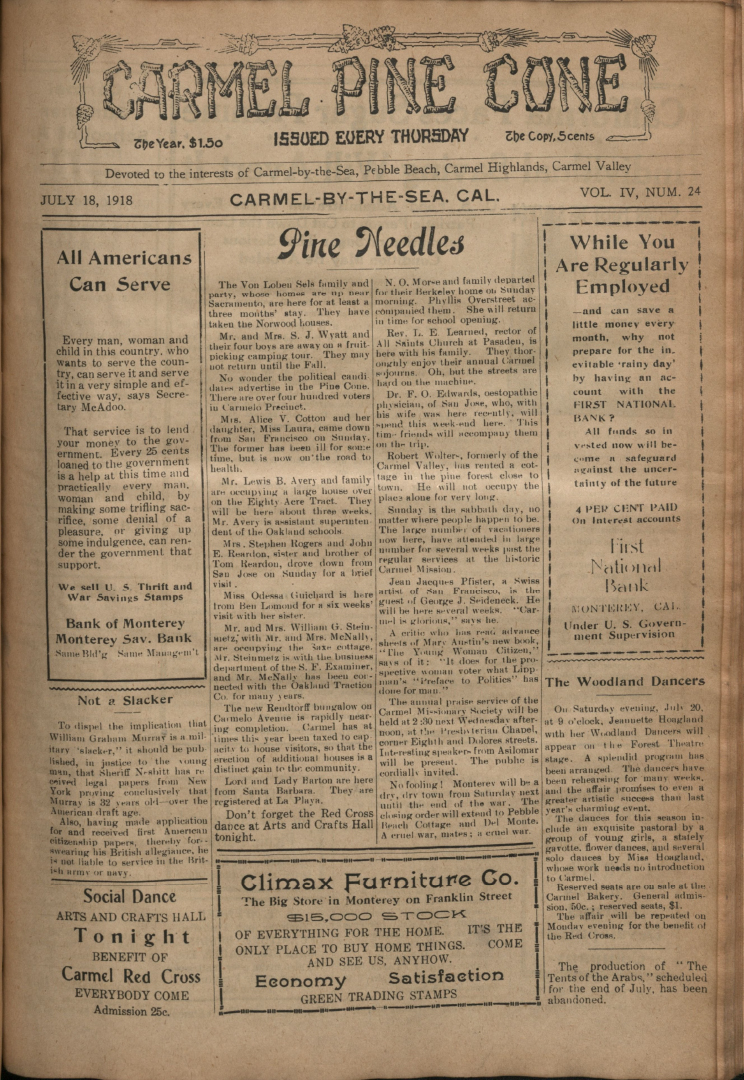 front page of the                 July 18, 1918, Carmel Pine Cone