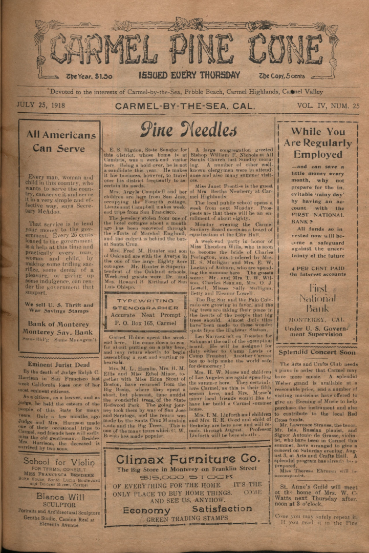 front page of the                 July 25, 1918, Carmel Pine Cone