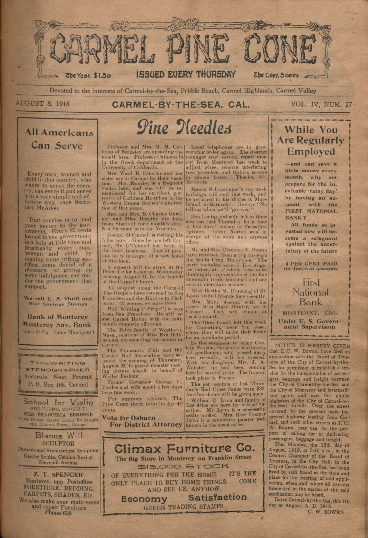 front page of the                 August 8, 1918, Carmel Pine Cone